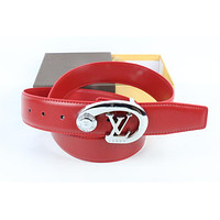 Louis Vuitton Woman Men Fashion Smooth Buckle Belt Leather Belt Skin Belts LV Beltt288