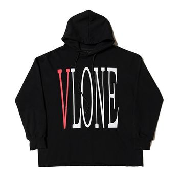 2018 Vlone Classic Logo Printed Big V Inside Women Men Hoodies Sweatshirts Hiphop Vlone Men Kanye West Hooded Hoodies Pullover