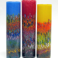 Garden Cylinder by Ingrid Hanson and Ken Hanson: Art Glass Vase - Artful Home