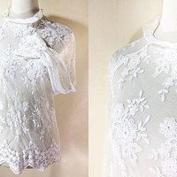 White Lace Blouse: long sleeved top, sheer, floral, ruffled cuffs, Edwardian, small