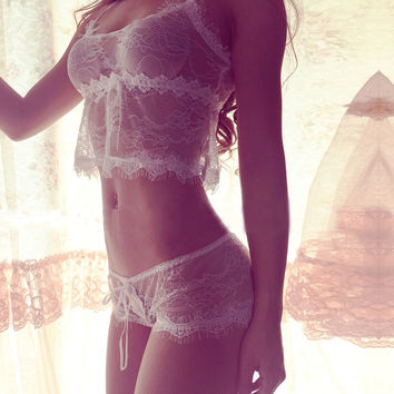 Fashion Solid Color Lace Strap Strappy Underwear Lingerie Set