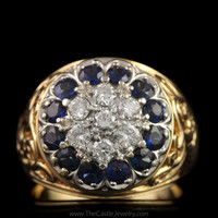 Kentucky Cluster Ring Featuring Brilliant Blue Sapphires & Round Diamonds in 14K Yellow Gold