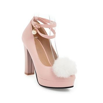 Women's Round Head High Heel Platform Chunky Pumps