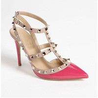 Top Fashion 11cm & 8cm High Heels T Straps Rivets High Heels Woman Sandal Shoes   Patent Leather Shoes for Women