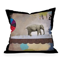Natalie Baca Abstract Circus Elephant Throw Pillow