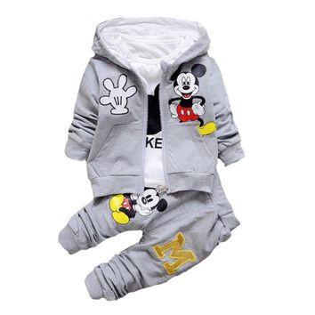 Children Boys Clothes 2017 Winter Girls Clothes Set Mickey Coat+T-shirt+Pants 3Pcs Girls Sport Suit Minion Children Clothing