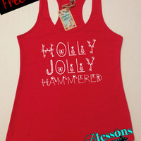 HoLLy JoLLy HaMMeReD. Christmas Tank Top. Funny Christmas Tank. Workout Tank. Holiday. Xmas Tank Top. Fitness Tank. Free Shipping USA