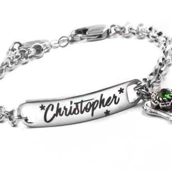 Engraved ID Bracelet with Name, Front and Back Engraving