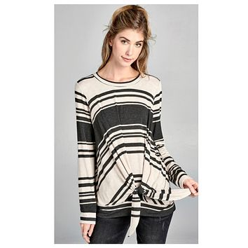 Unique Oatmeal Charcoal Striped Tie Knot Top
