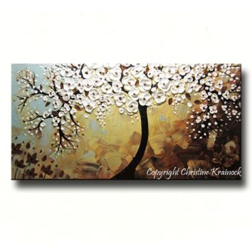 CUSTOM Abstract Art Painting Tree Original Textured Tree of Life White Flowers Blue Brown Bronze