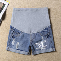 Maternity  Curling Hole Denim Shorts Fashionable Printed Letters Jeans Shorts Casual Thin Care Belly Shorts For Pregnancy
