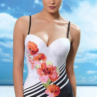 Floral Printed One Piece Swimsuit Bathing Suit