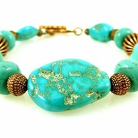 """Turquoise and Copper Bracelet with Toggle Clasp Magnesite Gemstone Beaded Fits 6.5"""" Wrist"""