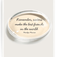 Remember Sisters Crystal Oval Paperweight