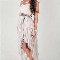 strapless two tone homecoming dress with high low hem and glitter