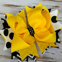 Girls Hair bow Chevron Yellow Black White Stacked hair bows for girls baby toddlers Yellow Jackets Georgia Tech