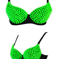 Green Studed Bra Top