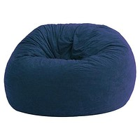 Large 4-Ft Memory Foam Bean Bag Chair in Sky Blue Suede - Made in USA
