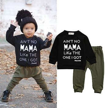 Newborn Toddler Kids Baby Boy Clothes Sets Casual Letter Printing Autumn Winter Outwear Sets Tracksuit T-shirt Top+Pant Outfits