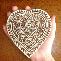 Large Valentine Heart Stamp: Hand Carved Indian Printing Block, Flower Stamp, Wood Block Stamp, Wooden Craft or Textile Stamp, India