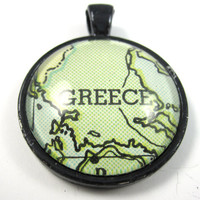 Greece Pendant from Vintage Map in Glass Tile by CarpeDiemHandmade