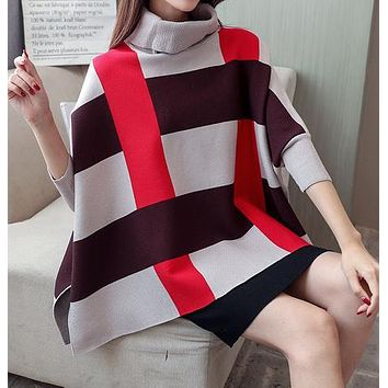 Womens Plaid Sweater Cape with Red Stripes