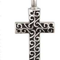 """Cremation Jewelry Stainless Steel """"Zed's Cross"""" Pendant"""