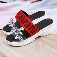 FENDI Summer Fashion Women Casual Crystal Thick Sole Sandals Slippers Shoes Red