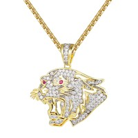 Cut Out Lion Ruby Eyes 14K Gold Finish Pendant Chain