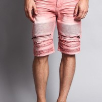 Faded Zipper Front Biker Shorts