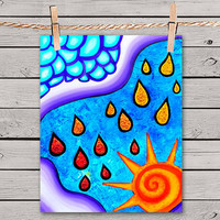 Sunny Rainy Day - 8x10 Print Poster of Fine Art Painting for Your Wall Decor