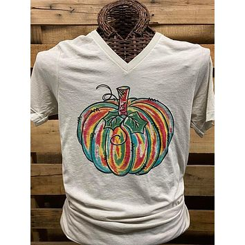 Southern Chics Apparel Colorful Pumpkin Canvas V-Neck Bright T Shirt
