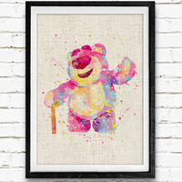 Toy's Story Lotso Watercolor Art Print, Baby Room, Nursery Wall Art, Home Decor, Not Framed, Buy 2 Get 1 Free!