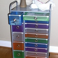 4D Concepts 22-Inch 15-Drawer Rolling Storage, Multi Color-Drawers