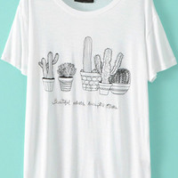 White Short Sleeve Cactus Embroidered T-Shirt