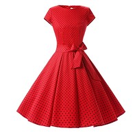 1950s Inspired Retro Rockabilly Cap-Sleeve Dress, Red with Small Black Polka Dots, Sizes XS - 3XL
