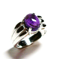 "Amethyst, amethyst cabochon, cabochon ring, solitaire ring, purple cab ring, purple, s 6 3/4  ""Clair De Lune"""