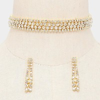 """12"""" gold crystal choker collar necklace 1.75"""" earrings .60"""" wide bridal prom"""