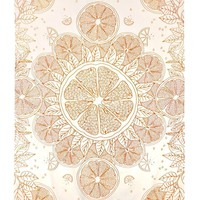 Orange Zest For Life Citrus Mandala Hippie Hippy Wall Hanging Throw Tapestry