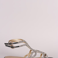 Rhinestone Caged Open Toe Ankle Strap Sandal