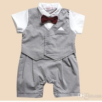 Baby Boy Clothes Christening Formal Tuxedo Boys Romper Suit