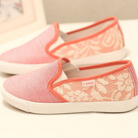 Leisure Strip Pattern Lace Loafers