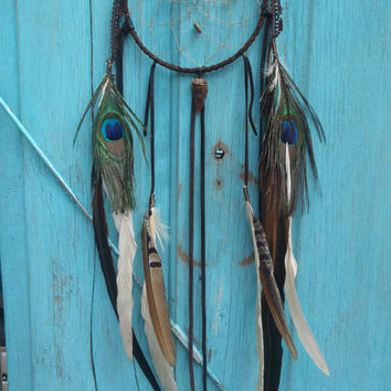 warmth ... long 6 Inch brown lace dream catcher  // by SpiritTribe
