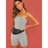 Slim Fitted Solid Tube Romper