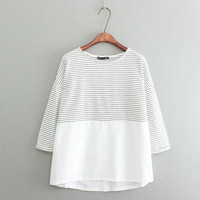 White Striped Pint Patchwork Loose Blouse
