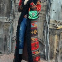 New Red Tribal Floral Patchwork Faux Fur Long Sleeve Vintage Cardigan Long Coat