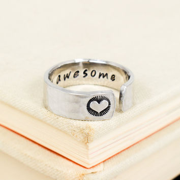 Stay Awesome Ring - Secret Message Ring -  Affirmations - Aluminum Hand Stamped Ring