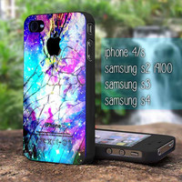Galaxy Nebula Cracked Out Broken Glass iphone 5,iphone 4, samsung galaxy s2 I9100,s3 I9300,s4 I9500