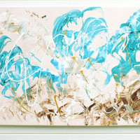 Original Large XL Abstract Art Painting Turquoise Splash Browns Acrylic on Canvas