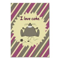 I love cake hungry happy mouse pink yellow stripes poster